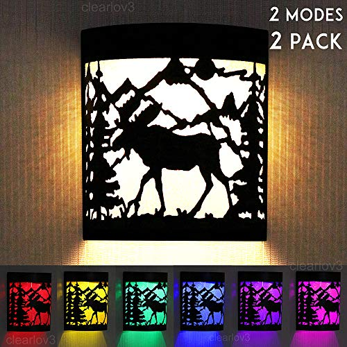 UPSTONE Outdoor Solar Wall Moose Deer Night Light, 2 Modes Fence Post Solar Lights Yard Step Deck Landscape Lighting for Outdoor Garden Pathway Stairs Fence,Warm White/Color Changing, 2 Packs