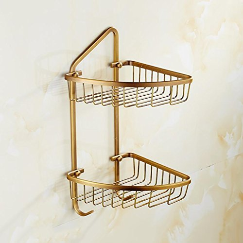 FeN Bathroom Triangular Rack, Brass Antique Storage Basket,Double Layer Storage Shelf,Retro Torage Organizer Shelves,Kitchen Spice Shelf,Wall Mount by FeN
