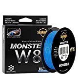 SeaKnight Monster W8 Braided Lines 8 Strands Weaves 328Yards/547Yards Super Smooth PE Braided Multifilament Fishing Lines for Sea Fishing 15-100LB (Low-Vis Blue, 2.0#:30LB/Diam:0.23mm/328Yds/300M)