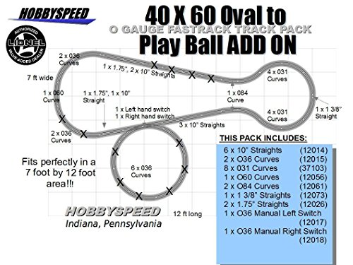 LIONEL FASTRACK 40X60 OVAL TO A PLAY BALL TRACK LAYOUT SET ADD-ON-PACK by Fastrack