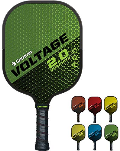 - GAMMA Sports 2.0 Pickleball Paddles: Voltage 2.0 Pickleball Rackets - Textured Graphite Face - Mens and Womens Pickle Ball Racquet - Indoor and Outdoor Racket - Green Pickle-Ball Paddle - 7.6 oz