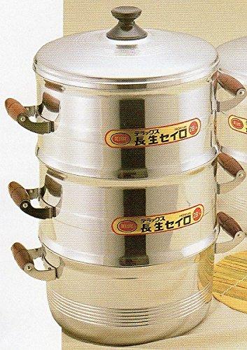 ホクア DX長生セイロセット 33cm 蒸し量4.5升×2=9升 二重セット(蓋1 セイロ2 鍋1)   B018DJ3DIK