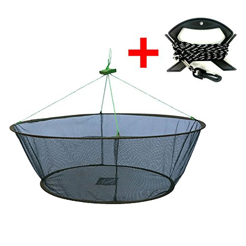 EASY BIG Foldable Fishing Nets Hand Casting Cage - Crab Net Fish Net with Fishing Rope and Handle for Fishes, Shrimps, Crabs (Green, Top Dia:39.37' Bottom Dia:31.5' Heights:13.78')