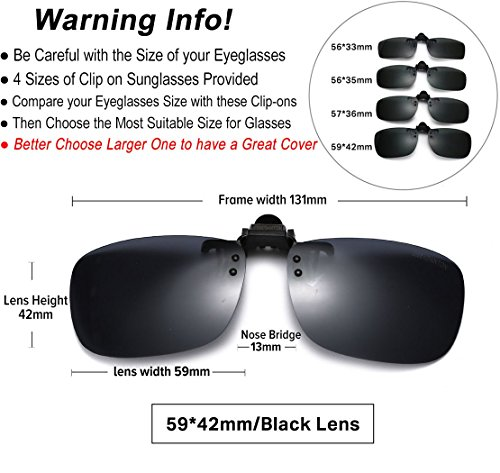 JESSIEDANTON Polarized Clip-on Flip Up Metal Clip Rimless Sunglasses, Lightweight, XL Size, Black Lens by CAXMAN (Image #3)