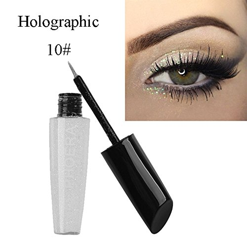 10 Colors Liquid Eyeliner,St.Dona Hot Sale Makeup Metallic Shiny Eyes Eyeshadow Waterproof Glitter Brightening Eyeliner (J)