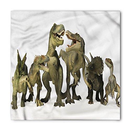 Dinosaur Bandana by Lunarable, Dinosaurs T-Rex Jurassic Theme 3D Style Dino Fossil Art Design History, Printed Unisex Bandana Head and Neck Tie Scarf Headband, 22 X 22 Inches, Pearl Army Green Khaki (History Bandana Design)