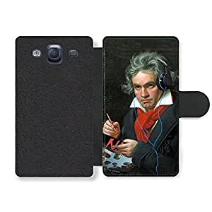 Gangster Beethoven New Style Cool Funny Vintage Headphones Rap Faux Leather case for Samsung Galaxy S3