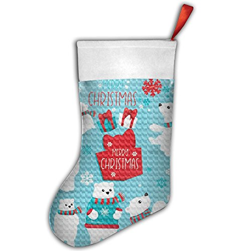 Christmas Bear Clipart Poster Christmas Hanging Stocking,Assorted Santa Gift Socks Hanging Accessories For Xmas Tree Decoration Only Printed One ()