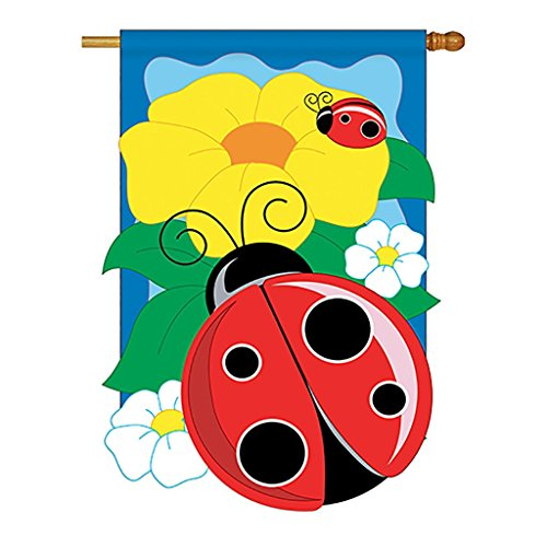 Two Group - Ladybug Garden Friends - Everyday Bugs & Frogs Applique Decorative Vertical House Flag 28