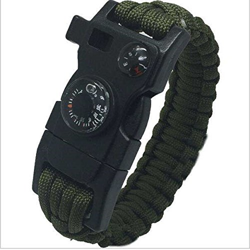 15 in 1 Paracord Bracelet with built in Compass and Thermometer (Army Green) great Survival Tool for use in Camping, Hiking, Hunting, Skiing, Biking and more by TUFF Hike