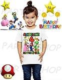 Mario Birthday Shirt Girls, Mario Bros, Princess and Yoshi Birthday Party, Add Any Name and Age, Family Matching Shirts, Girls Birthday Shirts, Mario Girl Birthday Shirt, Super Mario Girls Shirt 4