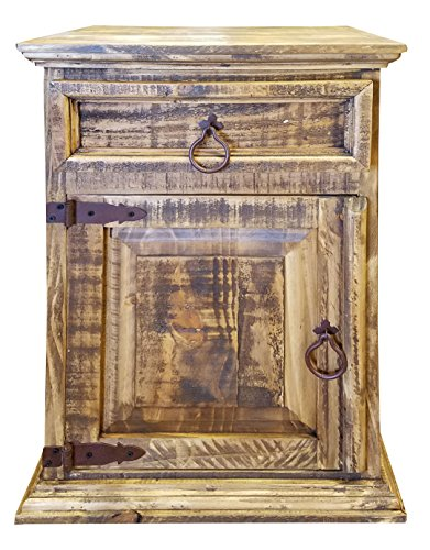 Handscrape Rustic Western Country Nightstand End Table Already Assembled (Left Hinged, Honey) (Country Bedroom Furniture)