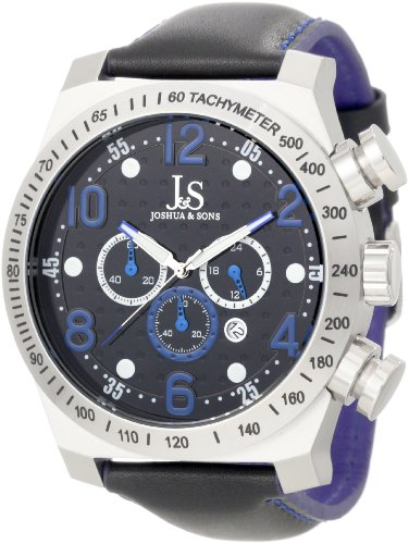 Joshua & Sons Men's JS-14-BU Chronograph Stainless Steel Sports (World Timer Stainless Steel Chronograph)