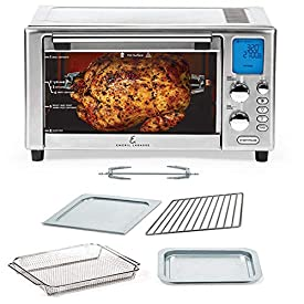 Emeril Lagasse Power Air Fryer 360 Better Than Convection Ovens | Hot Air Fryer Oven, Toaster Oven, Bake, Broil, Slow Cook & More Food Dehydrator, Rotisserie Spit, Pizza Function Cookbook Included Stainless Steel