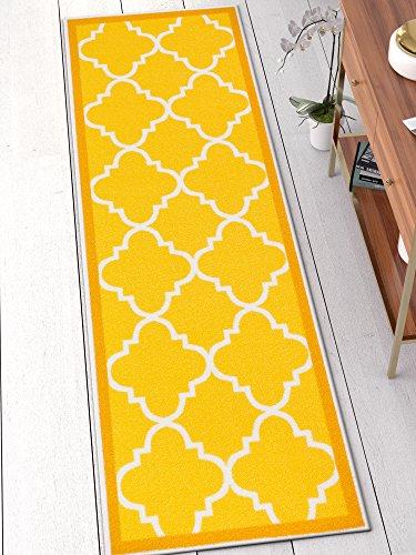 Well Woven 65112 Kings Court Brooklyn Trellis Modern Gold Geometric Lattice 2' x 7' Runner Indoor/Outdoor Area Rug]()