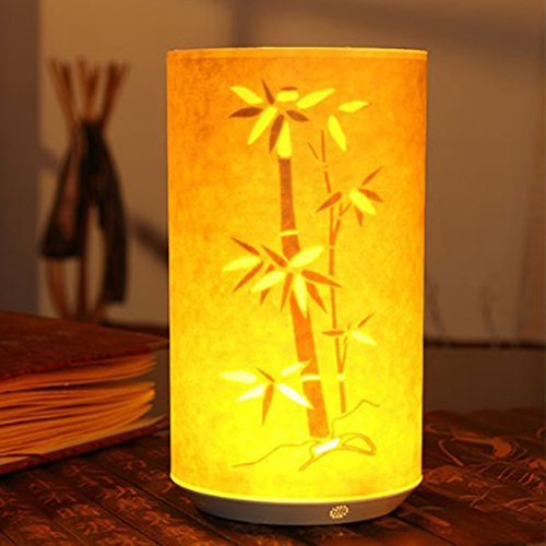 (Zehui Table Lamp Chinese Classical LED Parchment Bedside Night Light Remote Control Christmas Decoration Layout Ornament 1200mA Battery with Remote Control Bamboo Leaves)