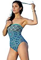 Jessica Simpson Exotic-Print Lattice Bandeau One-Piece Swimsuit Moss