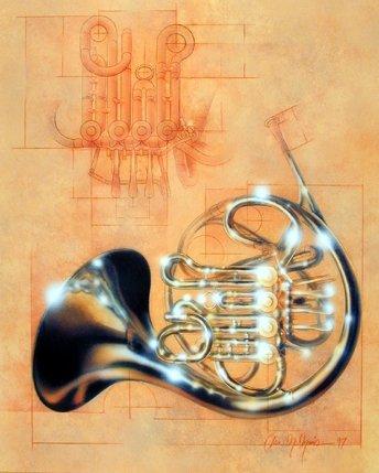 Musical Wall Decor French Horn Instrument Jazz Art Print Poster (16x20)
