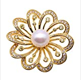 loobye Pink oblate Freshwater Pearl Auspicious Transport Flower Brooch electroplated Copper Plated Gold Bracket Set Zircon