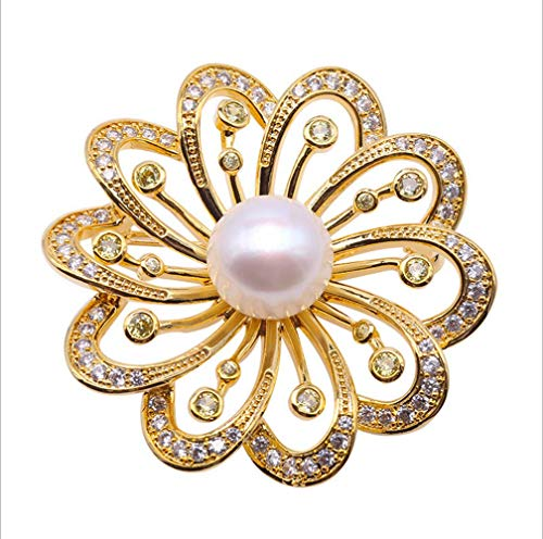 loobye Pink oblate Freshwater Pearl Auspicious Transport Flower Brooch electroplated Copper Plated Gold Bracket Set -