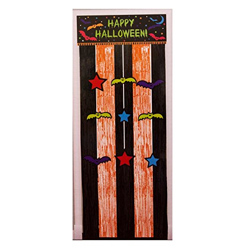 Door Curtain with Fringe and Hanging Cutouts, Halloween Cloak and Bats -