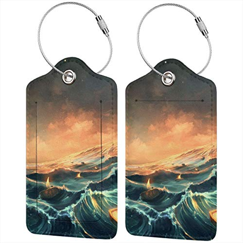 QDLDQ Candles Sea Waves Leather Luggage Tags Etag for Suitcases Travel Name ID Identification Labels Set for Bags with Full Back Privacy Cover and Steel Loop ()