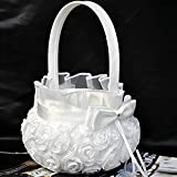 Romantic Rose Bowknot Satin Wedding Ceremony Party Flower Girl Basket White by ZSL