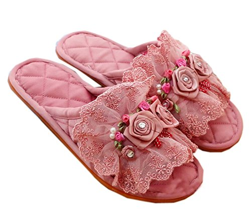 Dark Pink Double Lace Cloth Fashion Home Slippers Innovative Slippers RZcIzVt