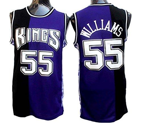 Men's Adult #55 Jason Williams Jersey Black&Purple M - Sacramento Kings Jersey