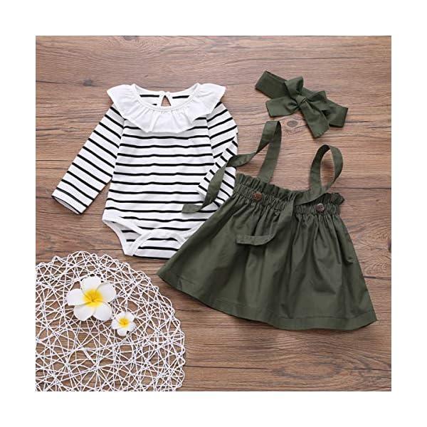 DaMohony - set di vestiti per bambina a maniche lunghe, pagliaccetto a righe, gonna con bretelle e fascia, per bambina… 2