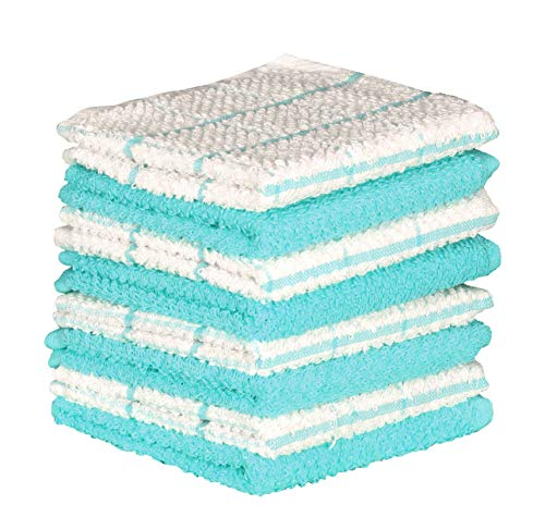 tchen Dishcloth Set of 8 (12 x 12 Inches), Turquoise, 100% Cotton, Highly Absorbent, Machine Washable ()