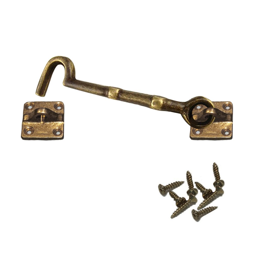 Door Latch Hook Vankcp Hook & Eye Latch Lock for Double Doors, Barns, Sliding andGates, Garage Cast Iron Cabin Hook Heavy Duty Antique Copper Shed (5.7 inch)