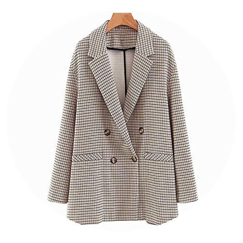 2019 Pant Suits 2 Piece Set Women Double Breasted Plaid Blazer Jacket & Trouser,Jacket,M