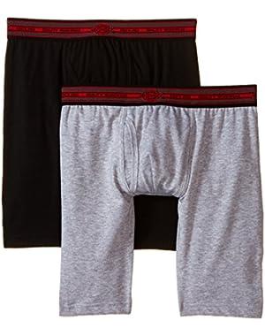 Men's 2 Pack Cotton Performance Black Grey Long Leg Boxer Brief