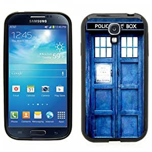 Samsung Galaxy S4 SIIII Black Rubber Silicone Case - Dr Who Tardis Police Call Box Phone Booth Blue