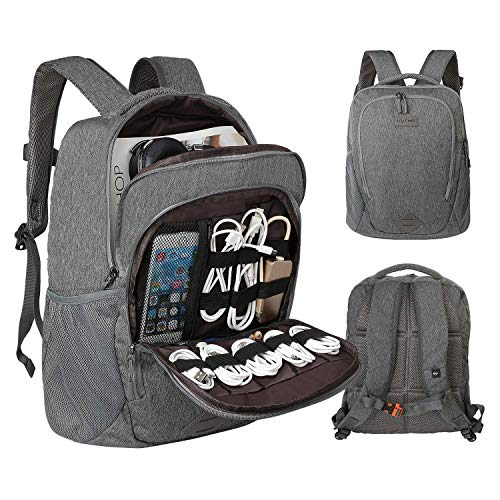 "Laptop Electronics Organizer, Jelly Comb Laptop Accessories Organizer Electronic Travel Laptop Backpack 15.6"" Lightweight Computer Bag for MacBook, Laptop Charger, Cables, Power Bank and More-Gray"