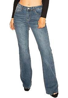 e110c3a7e77 Cindy H Paris Womens Long Leg Stretch Denim Flared Bootcut Jeans with Cut  Off Frayed Ends