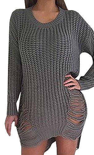 Chuanqi Women's Loose Hole Hollow Out Irregular Sweater (Medium, Grey)