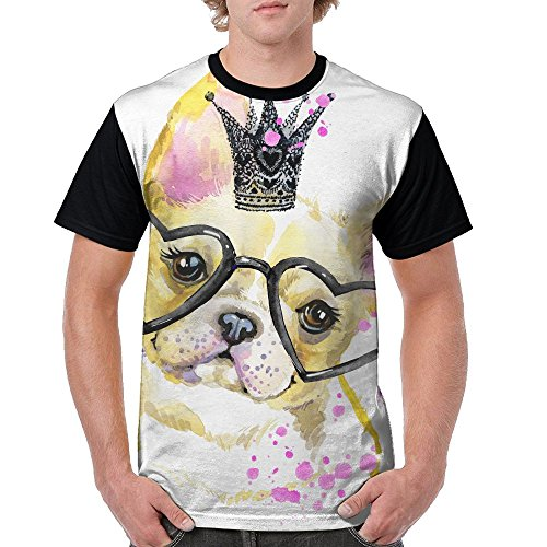 ZhiqianDF Mens Cute Doggraphics Watercolor Dog Illustration Background Casual Style Running Black T-Shirt XL Short Raglan - Pack Family Sixers