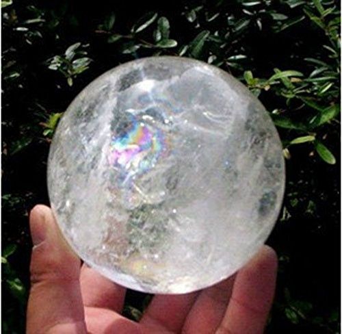 NATURAL RAINBOW CLEAR QUARTZ CRYSTAL SPHERE BALL HEALING GEMSTONE : 54mm+stand