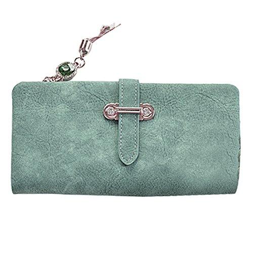 Bonaweite Women Wallet RFID Blocking Matte Large Capacity Clutch Multi Card Organizer Purse (Green - Ultra Suede Clutch