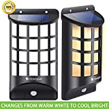 Novopal Outdoor Solar Lights with Wide Angle ,PIR Motion Sensor Wireless Security LED Lights, Arc-Shaped Lattice Design -1 Pack