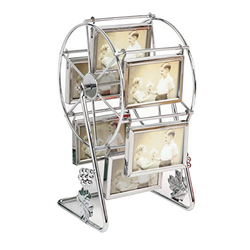 MMYU Photo Frame Rotating Ferris Wheel Picture Frame Vintage DIY Keepsake Windmill Photo Frame New Year Gift for Family Home Decor (Silver)