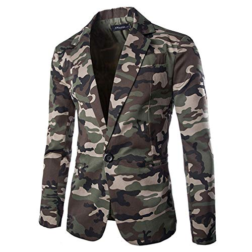 WUAI Mens Suit Jackets Classic Fit Camouflage One Button Blazer Coat Jacket Tops(Army Green,US Size XL = Tag 2XL)