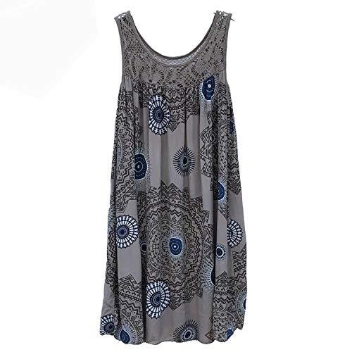 Womens Tops and Blouses Plus Size Women Tops Fashion Lace Stitching Print Sleeveless Shirt,Gray,XXL]()