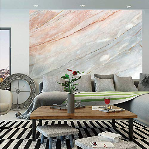 SoSung Marble Huge Photo Wall Mural,Onyx Stone Textured Natural Featured Authentic Scratches Artful Illustration Decorative,Self-Adhesive Large Wallpaper for Home Decor 108x152 inches,Peach Pale Grey
