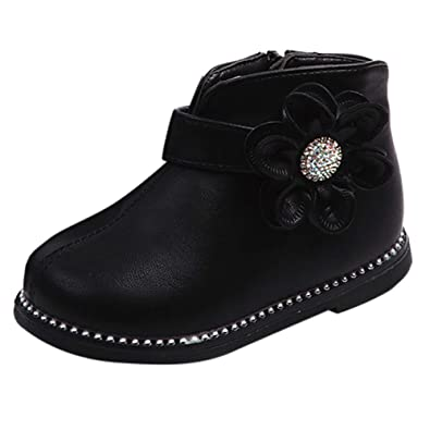HLHN Baby Girls Boots Warm Winter Martin Shoes Zip Leather Children Kids Toddler Infant Sneakers Casual