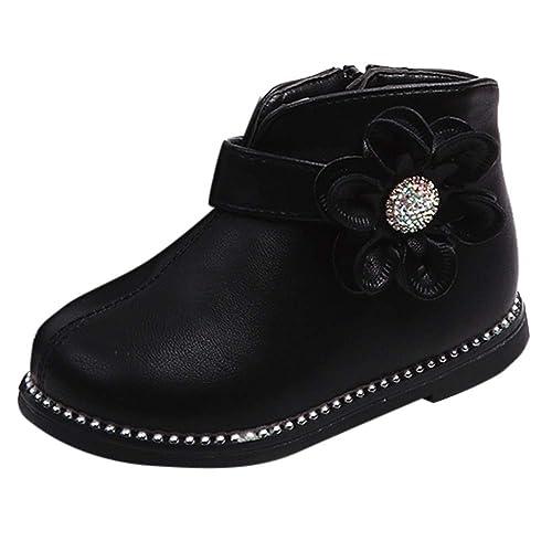 Botas Niña Invierno K-youth Botines de Flores con Cremallera Caliente Zapatos Martin Botines Boots