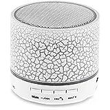 BONBON  Mini Bluetooth Speaker,Wireless Portable Sound Box Subwoofer Speaker with Mic & Colorful LED Light,Support USB/AUX/TF Card/FM Music,White