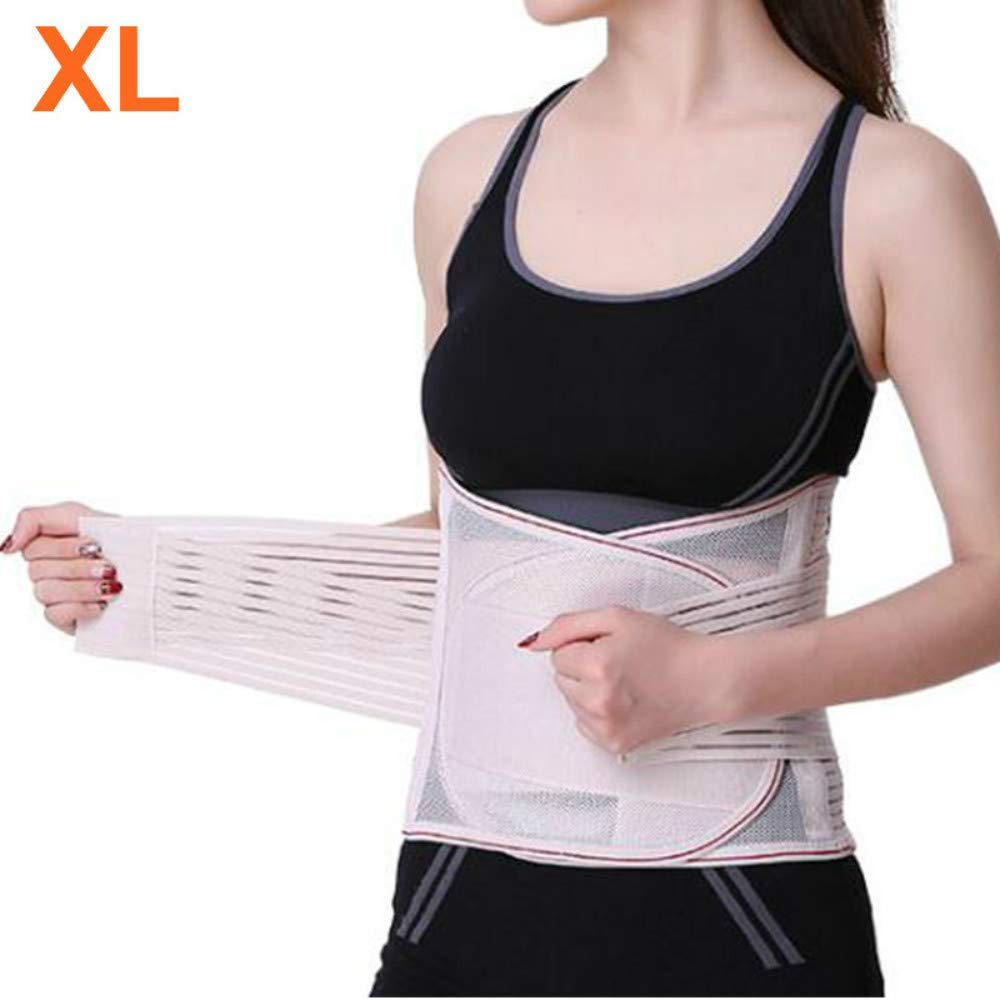 Enshey Adjustable Double Pull Lumbar Brace/Lower Back Belt, Pain Relief, Breathable Material - Wide Back Suppor with 5 Support Plates Hip & Waist Supports (XL)